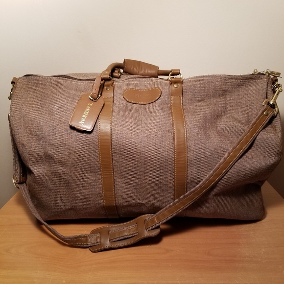 6c80bd1378e2 T. Anthony LTD. Canvas Leather Trim Duffle Bag. M 5ba86ad8f63eeae254e59cf7